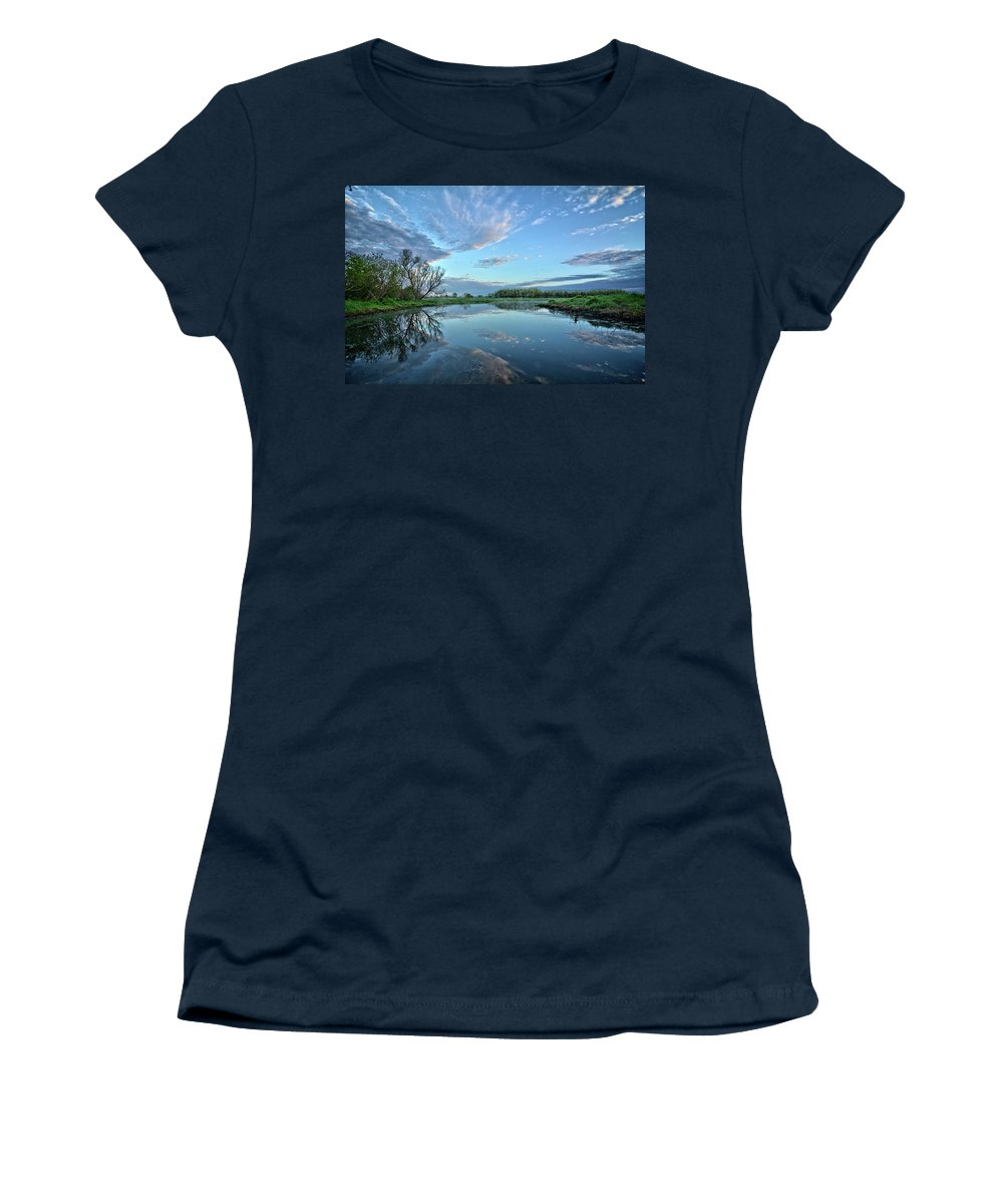 Reflection Women's T-Shirt (Athletic Fit) featuring the photograph May Reflections by Bonfire Photography