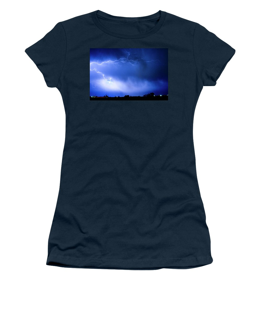 Bo Insogna Women's T-Shirt featuring the photograph May Showers Two In Color - Lightning Thunderstorm 5-10-2011 by James BO Insogna