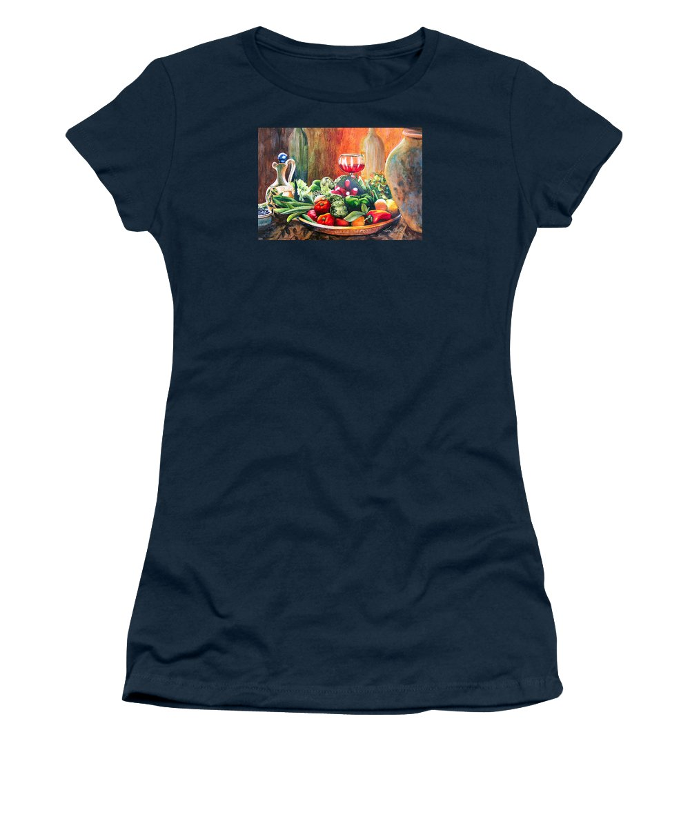 Still Life Women's T-Shirt featuring the painting Mediterranean Table by Karen Stark