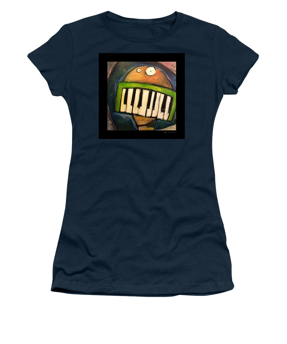 Funny Women's T-Shirt (Athletic Fit) featuring the painting Melodica Mouth by Tim Nyberg