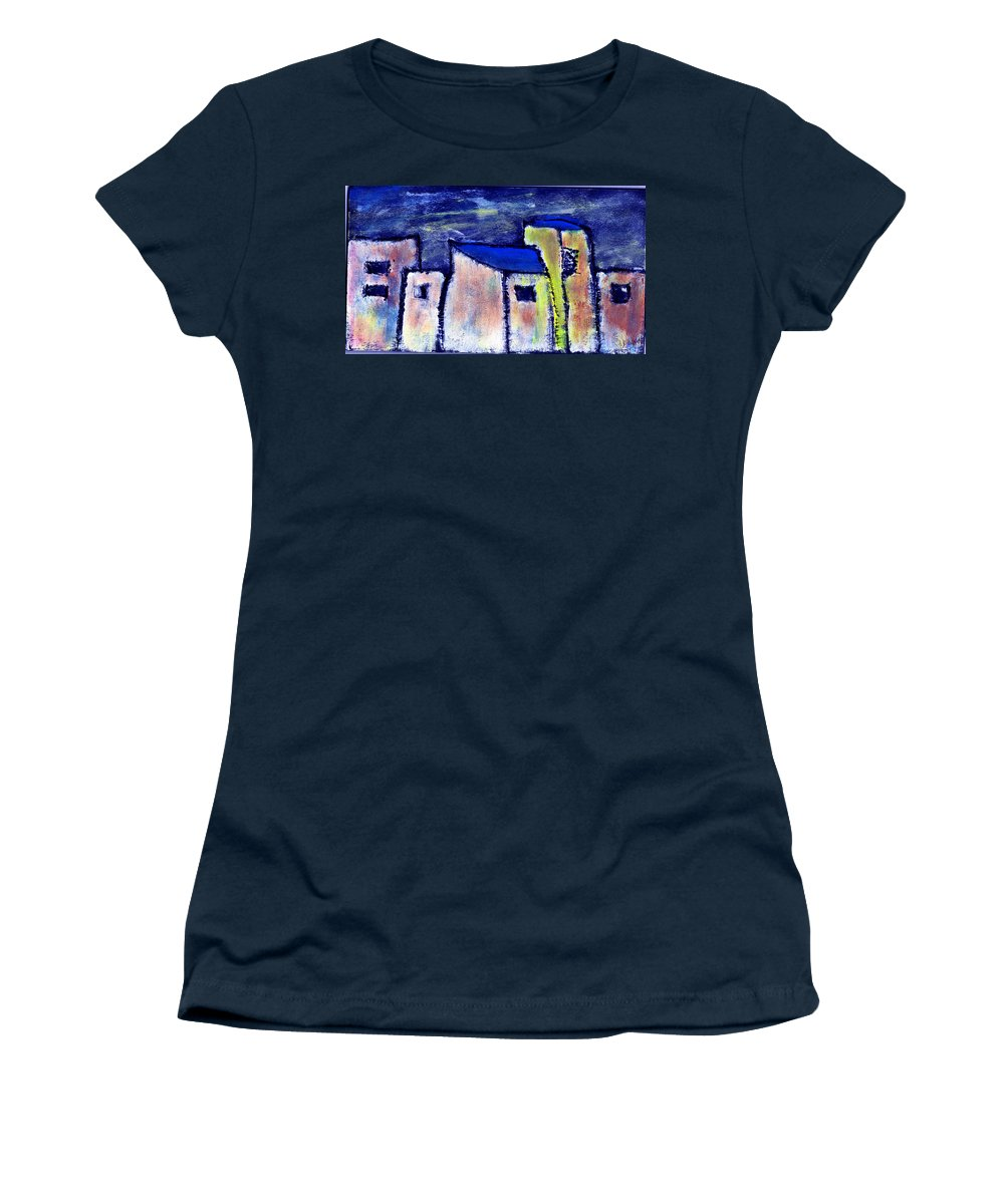 Buidings Women's T-Shirt (Athletic Fit) featuring the painting Memories by Wayne Potrafka