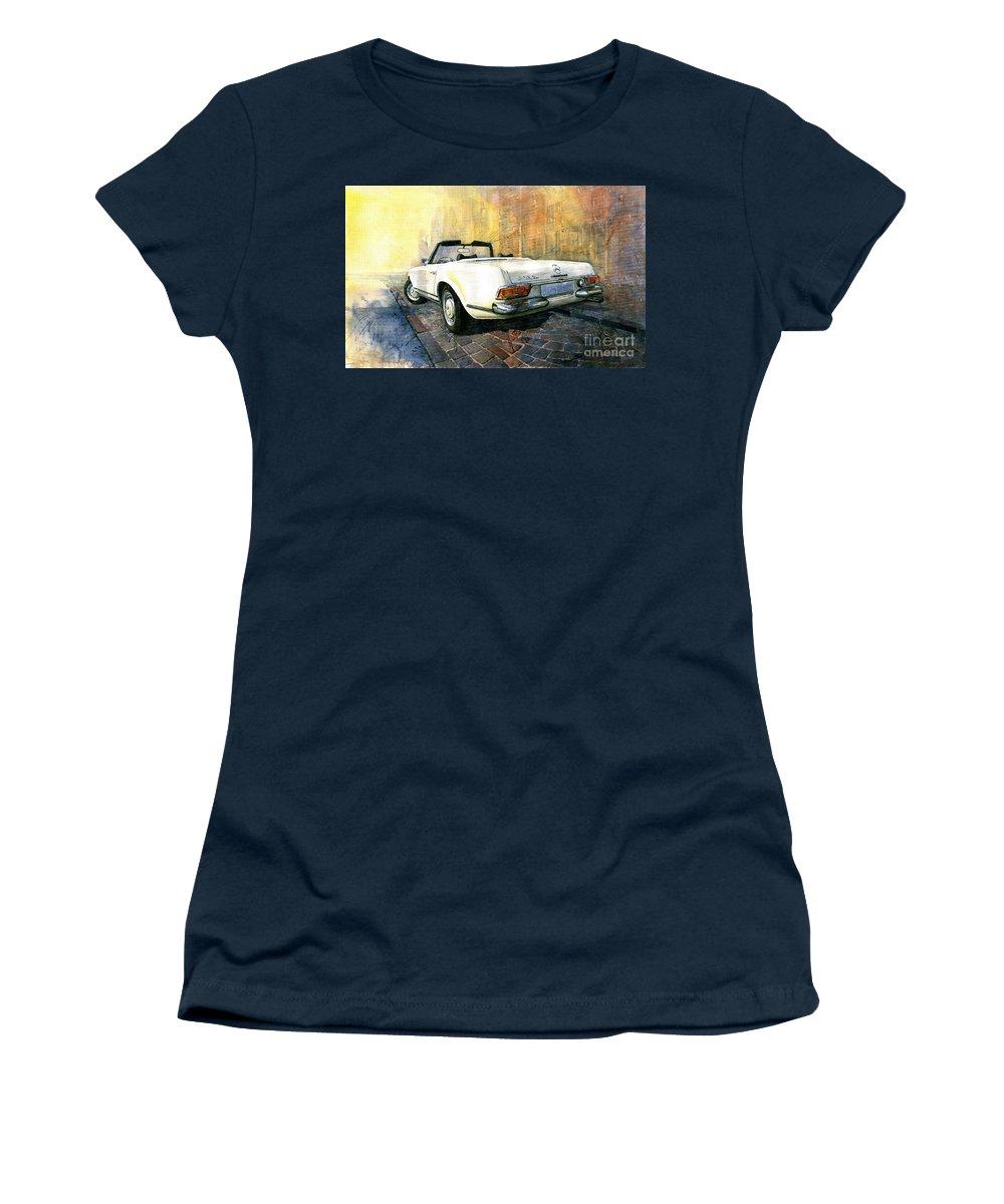 Watercolour Women's T-Shirt featuring the painting Mercedes Benz W113 280 Sl Pagoda by Yuriy Shevchuk