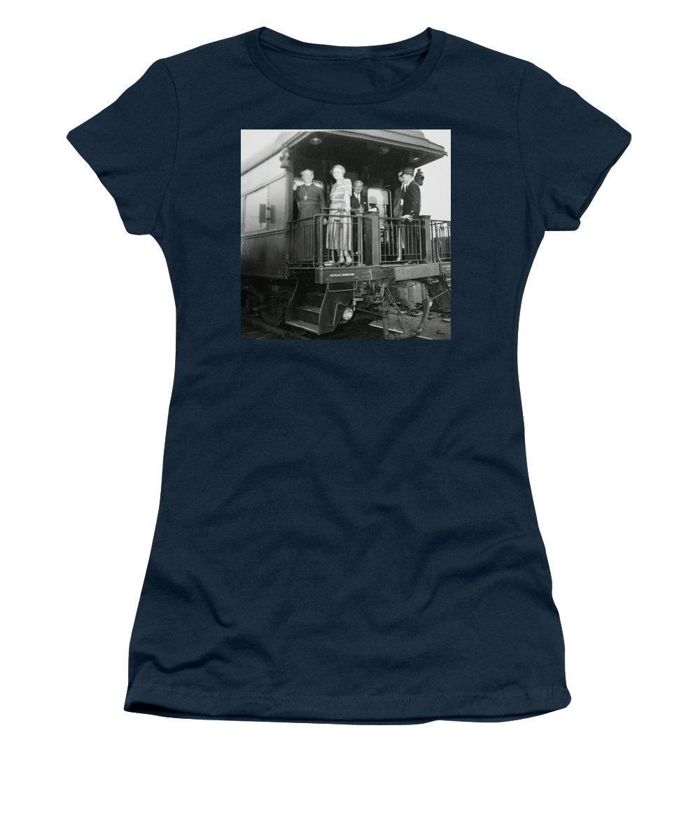 Old Train Rail Car Classic Caboose Transportation Black And White Photograph 1950s Women's T-Shirt (Athletic Fit) featuring the photograph Metallic Connection by Andrea Lawrence