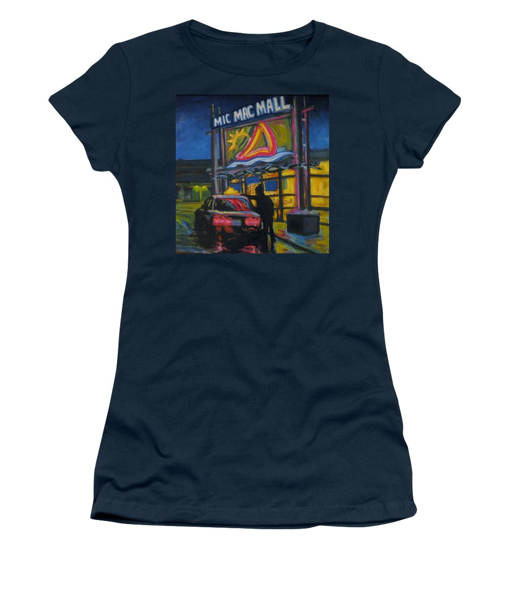 Retail Women's T-Shirt (Athletic Fit) featuring the painting Mic Mac Mall Spectre Of The Next Great Depression by John Malone