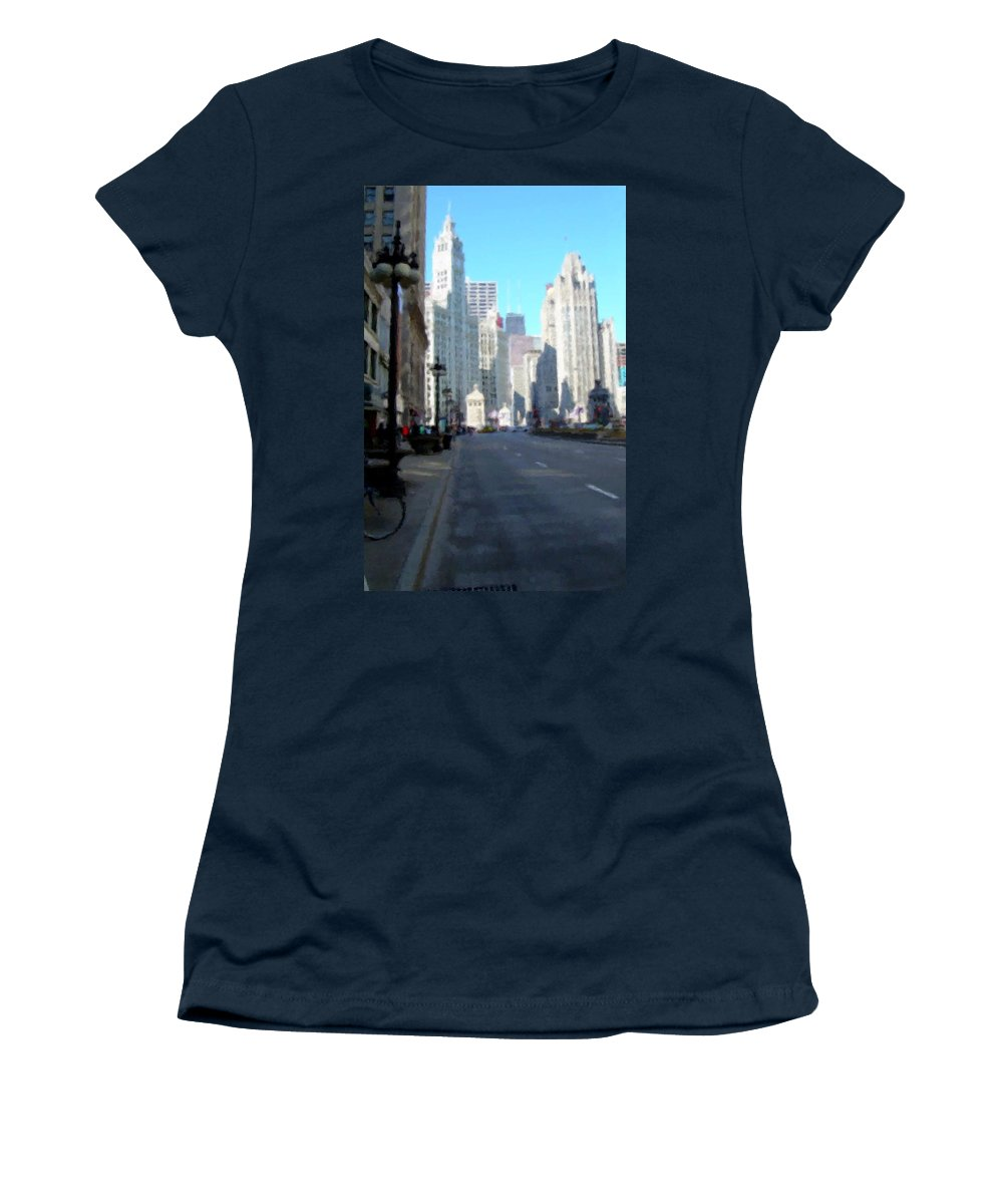 Chicago Women's T-Shirt featuring the digital art Michigan Ave Tall by Anita Burgermeister