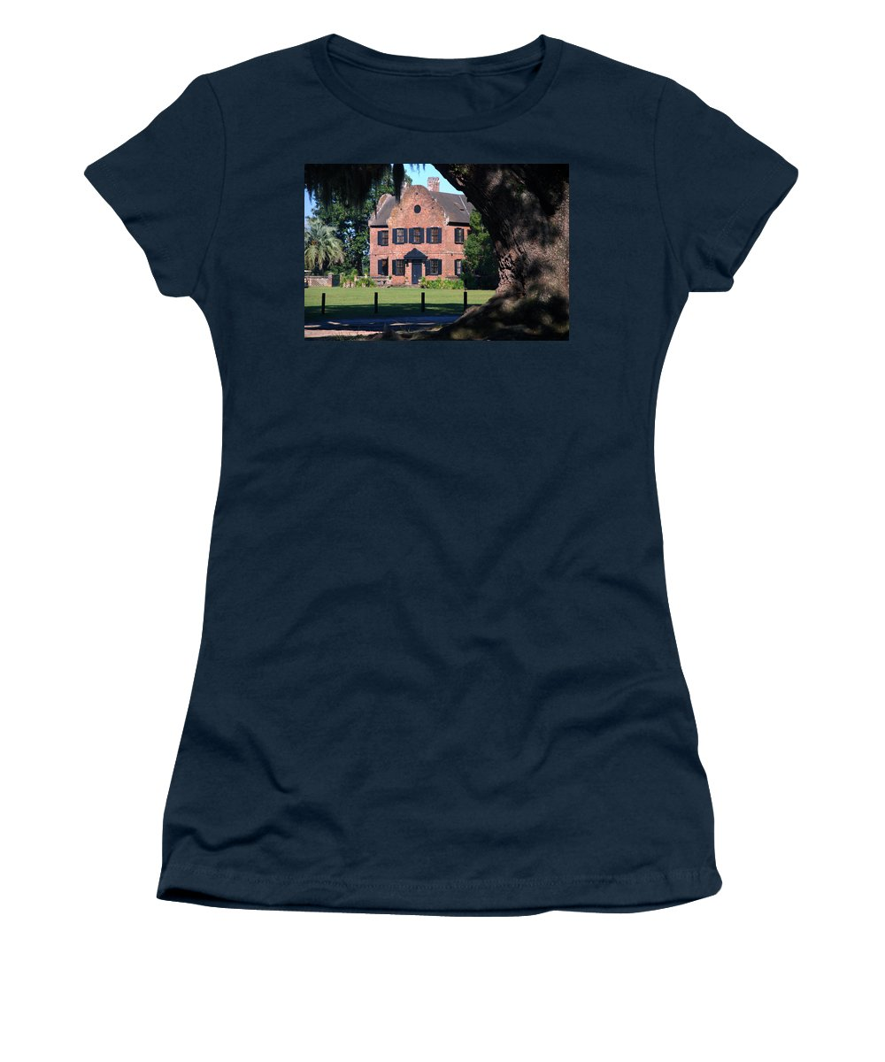Photography Women's T-Shirt featuring the photograph Middleton Place Plantation House by Susanne Van Hulst