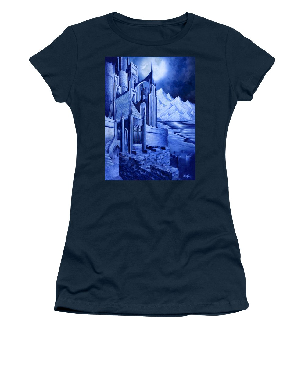 Lord Of The Rings Women's T-Shirt (Athletic Fit) featuring the mixed media Minas Tirith by Curtiss Shaffer