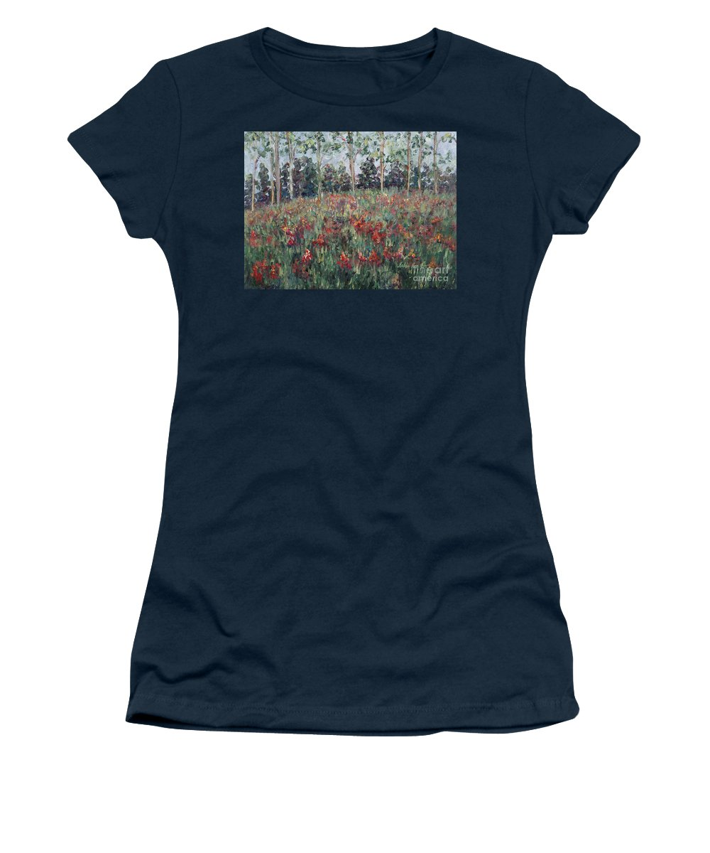 Landscape Women's T-Shirt featuring the painting Minnesota Wildflowers by Nadine Rippelmeyer