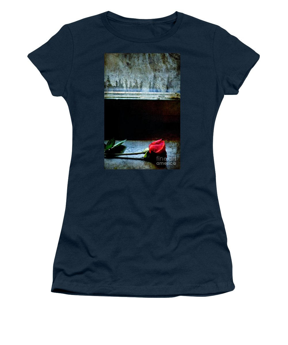 Rose Women's T-Shirt featuring the photograph Misty Rose by Silvia Ganora