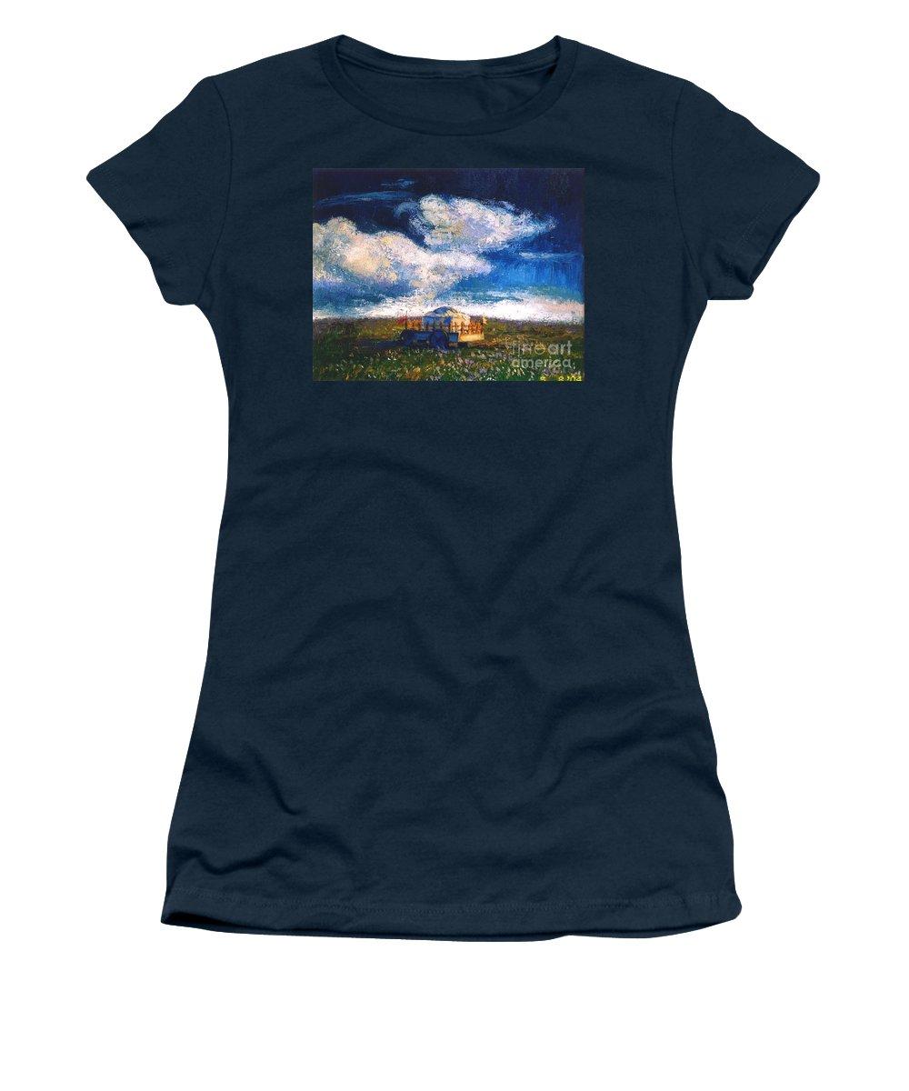 Momgolian Women's T-Shirt featuring the painting Mongolian Home by Meihua Lu