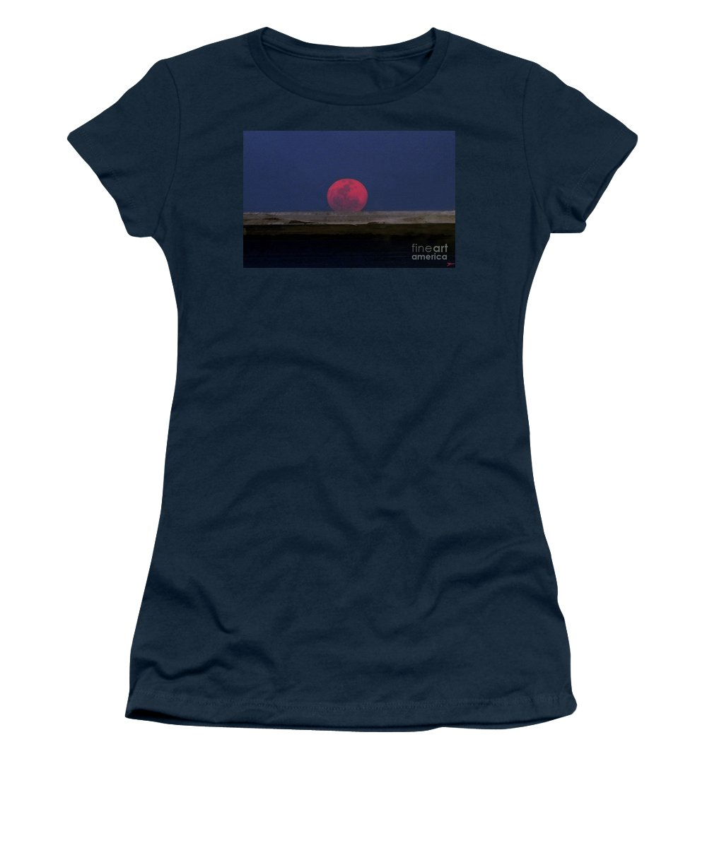 Moon Women's T-Shirt featuring the painting Moon At Perigee by David Lee Thompson