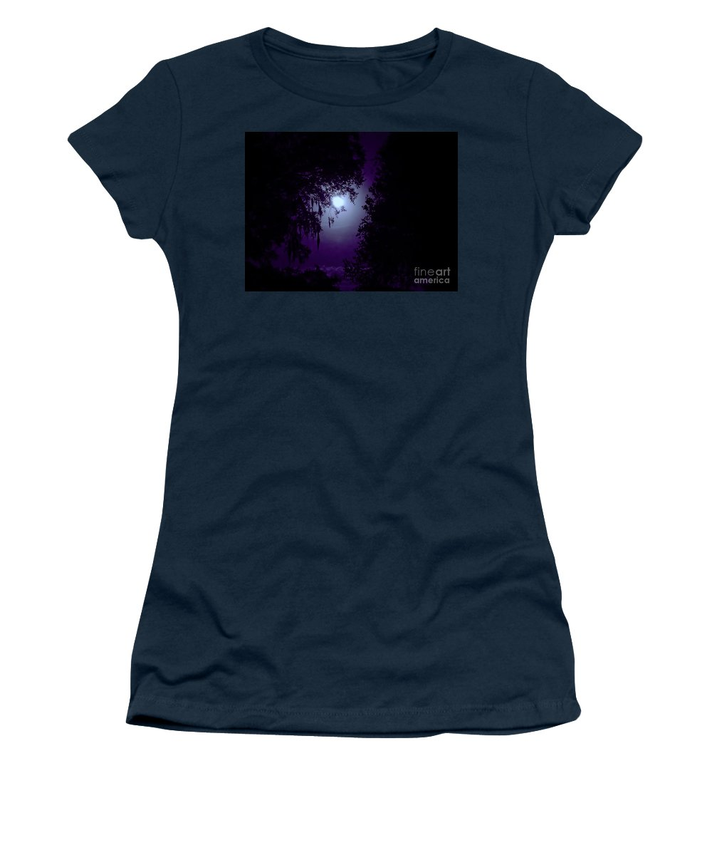 Moon Women's T-Shirt featuring the photograph Moon - Between - The - Trees by D Hackett