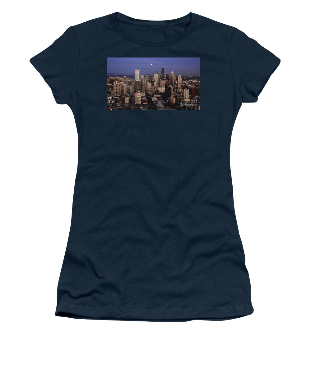 Seattle Women's T-Shirt (Athletic Fit) featuring the photograph Moon Over Seattle by David Lee Thompson