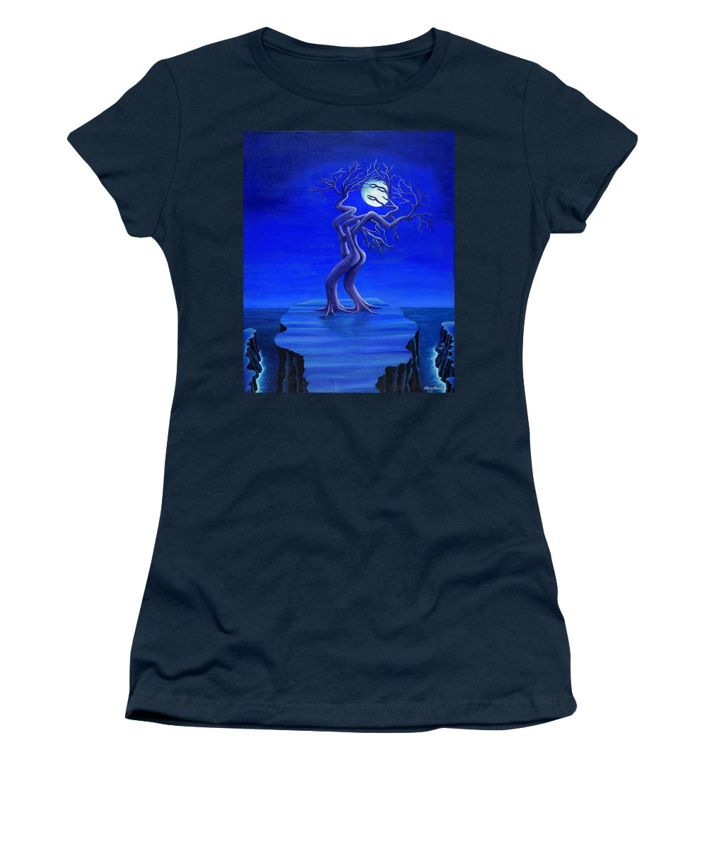 Fantasy Women's T-Shirt featuring the painting Moonlight Passion by Claire Vaccaro