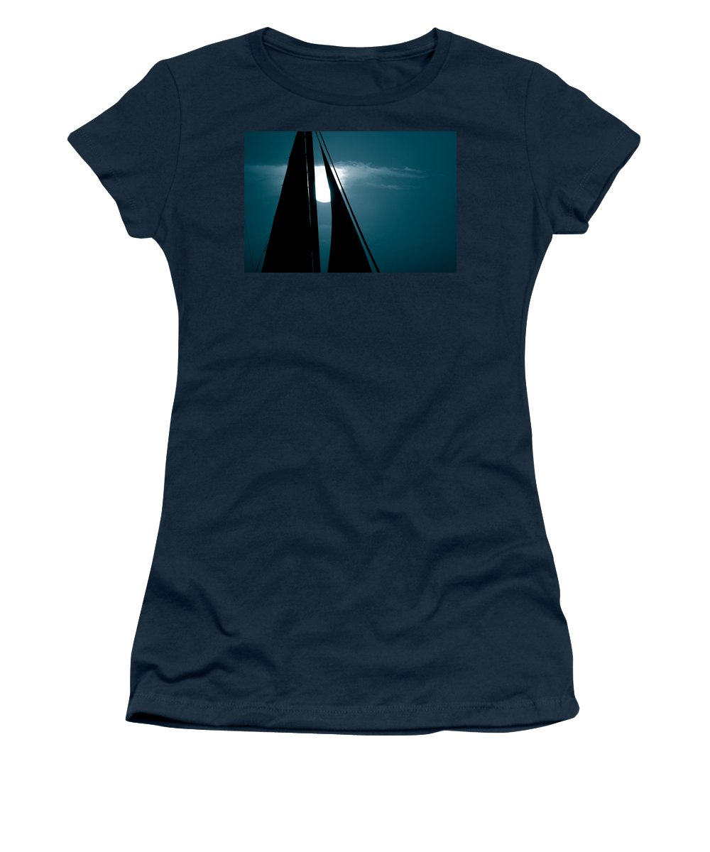 Sails Women's T-Shirt (Athletic Fit) featuring the photograph Moonlight Sail by Susanne Van Hulst