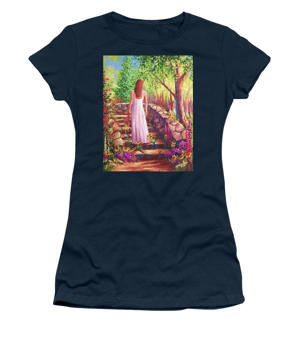 Woman Women's T-Shirt featuring the painting Morning In Her Garden by David G Paul