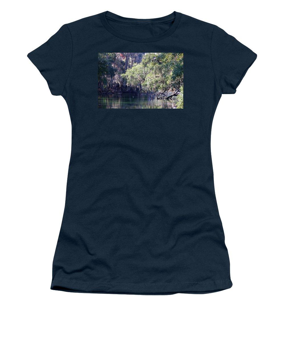 Trees Women's T-Shirt featuring the photograph Moss At Blue Springs by Deborah Benoit