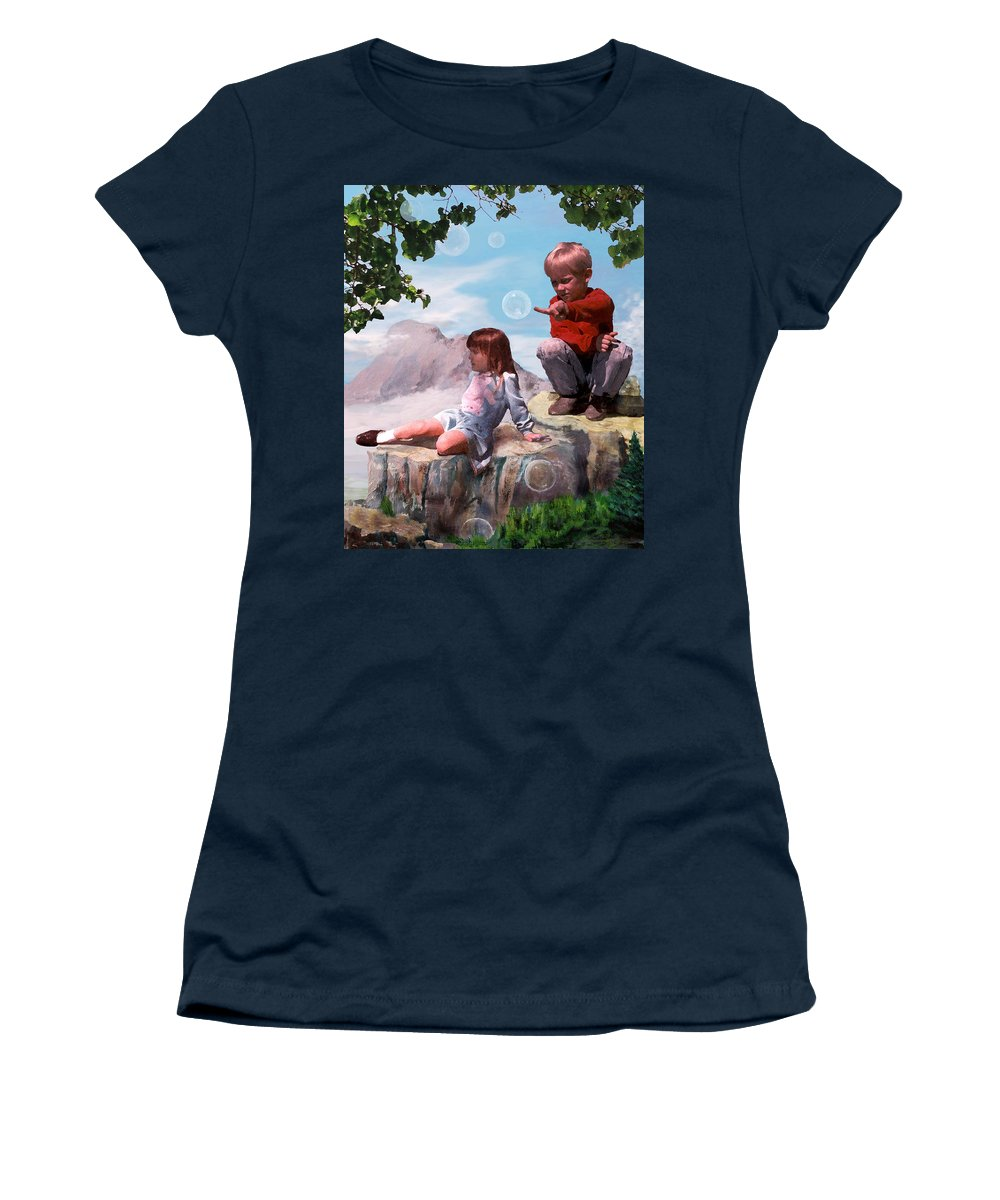 Landscape Women's T-Shirt featuring the painting Mount Innocence by Steve Karol