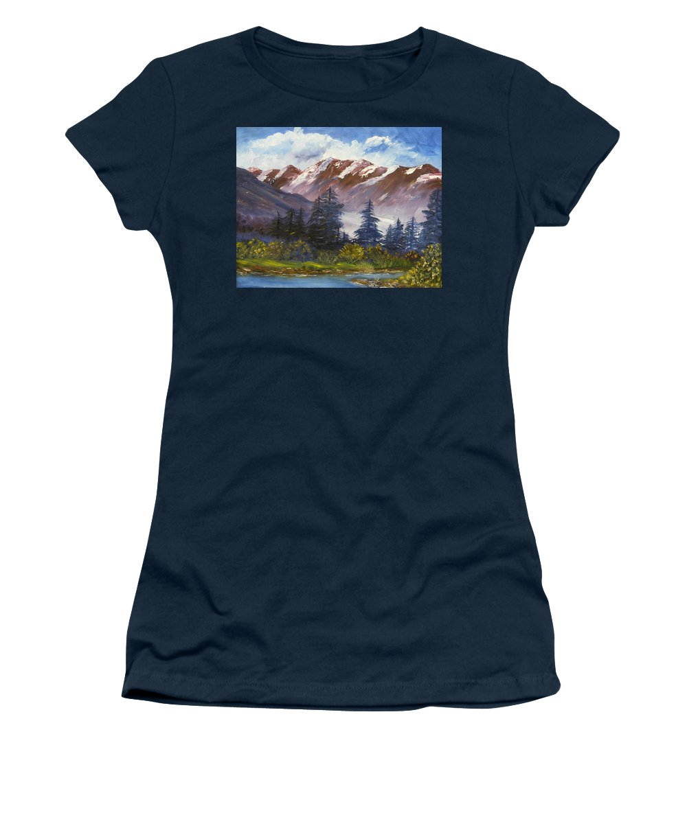 Oil Painting Women's T-Shirt featuring the painting Mountains I by Lessandra Grimley