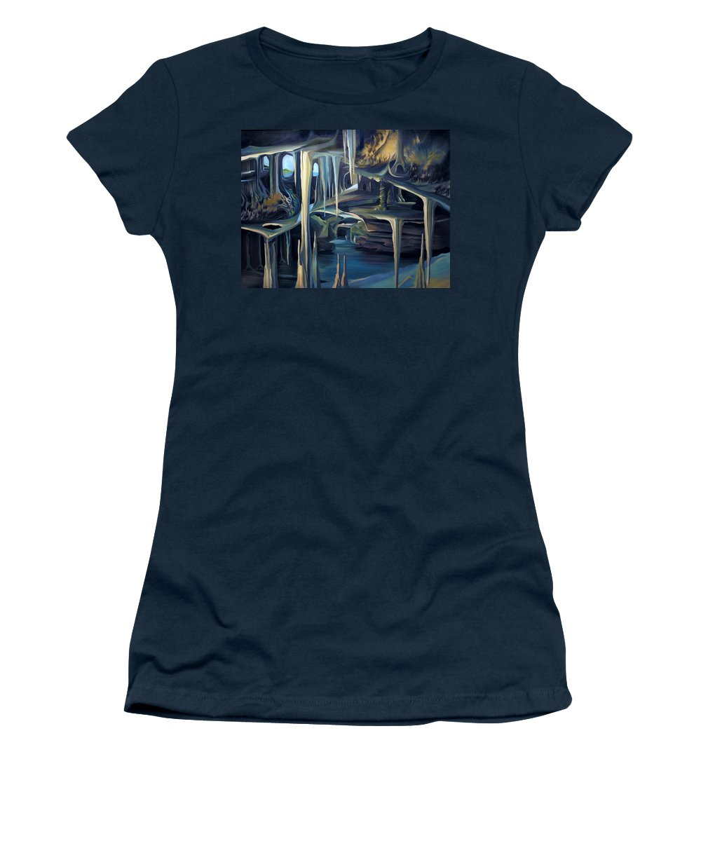 Mural Women's T-Shirt (Athletic Fit) featuring the painting Mural Ice Monks In November by Nancy Griswold