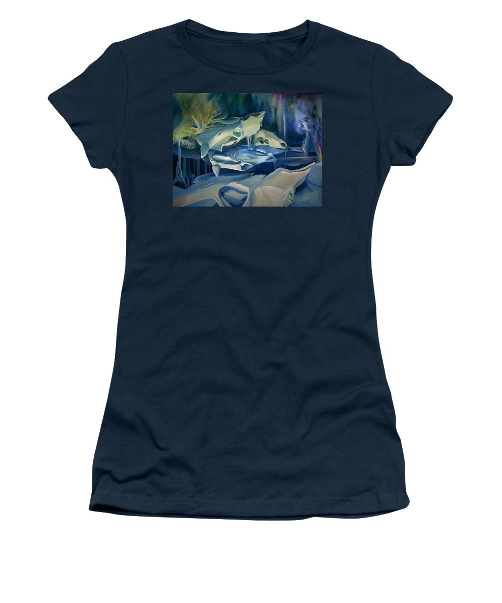 Surreal Women's T-Shirt (Athletic Fit) featuring the painting Mural Skulls Of Lifes Past by Nancy Griswold