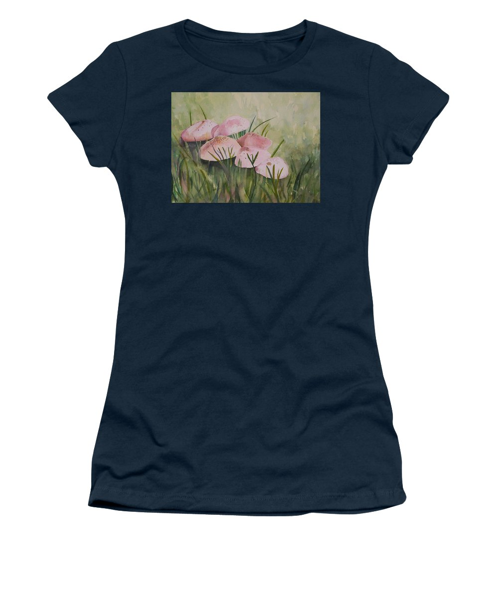 Landscape Women's T-Shirt featuring the painting Mushrooms by Suzanne Udell Levinger