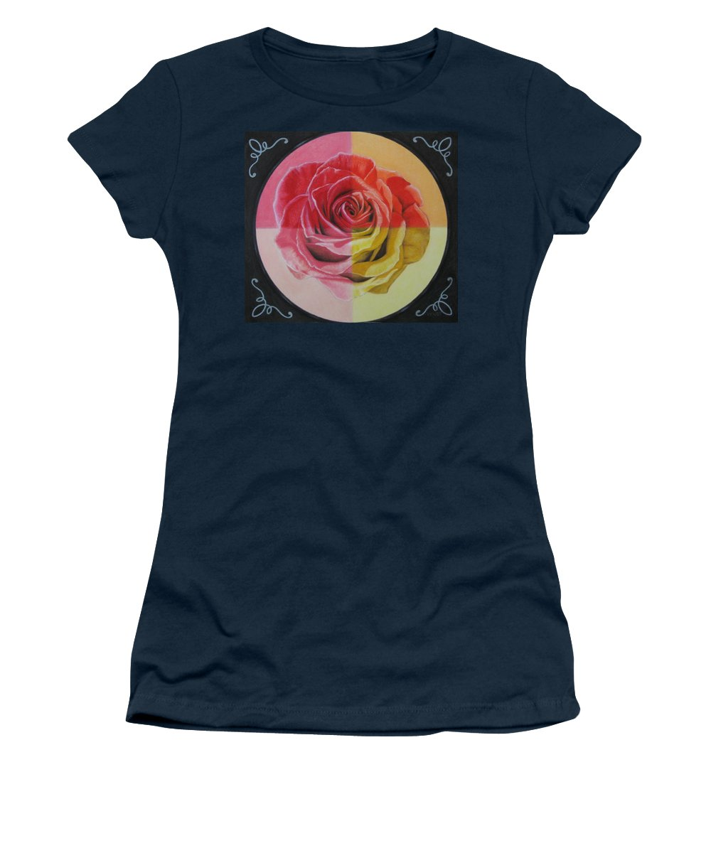 Rose Women's T-Shirt (Athletic Fit) featuring the painting My Rose by Lynet McDonald