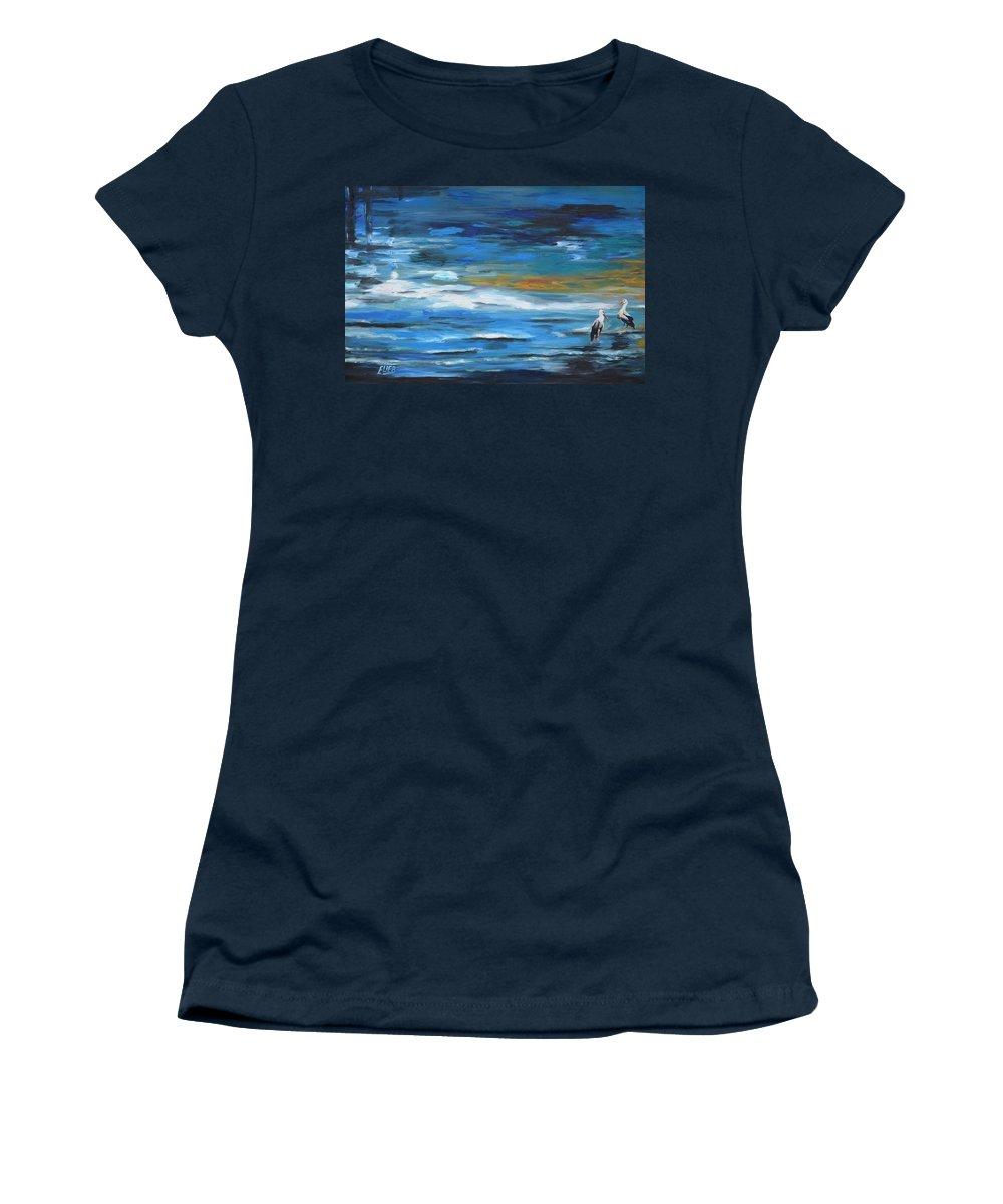 Animal Bird Sea Sumer Canvas Elie Eli Benbaruch Oil Original Art Water Women's T-Shirt featuring the painting Near The Jetty by Elie Benbaruch