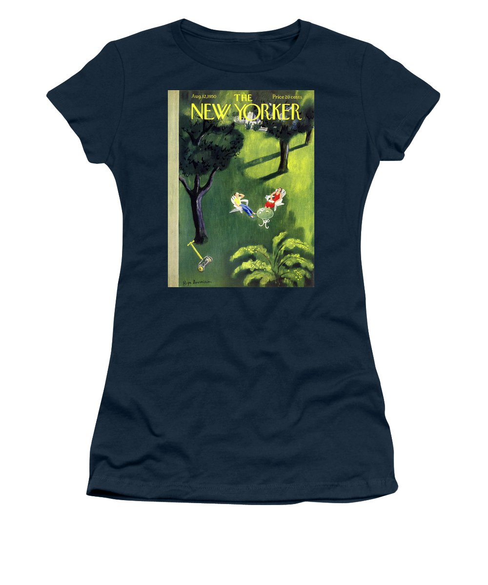 Couple Women's T-Shirt featuring the painting New Yorker August 12 1950 by Roger Duvoisin