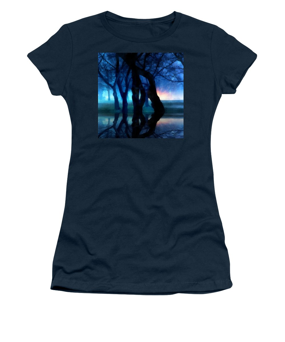 Fog Night Glowing Glow Trees City Park Creepy Dark Evening Silhouette Branches Reflections Women's T-Shirt (Athletic Fit) featuring the digital art Night Fog In A City Park by Francesa Miller