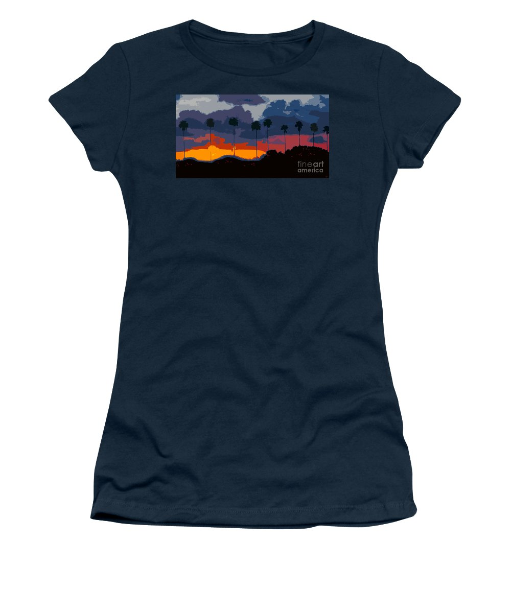 Palm Trees Women's T-Shirt (Athletic Fit) featuring the painting Nine Palms by David Lee Thompson