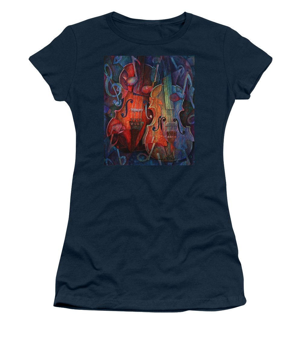 Susanne Clark Women's T-Shirt (Athletic Fit) featuring the painting Noteworthy - A Viola Duo by Susanne Clark