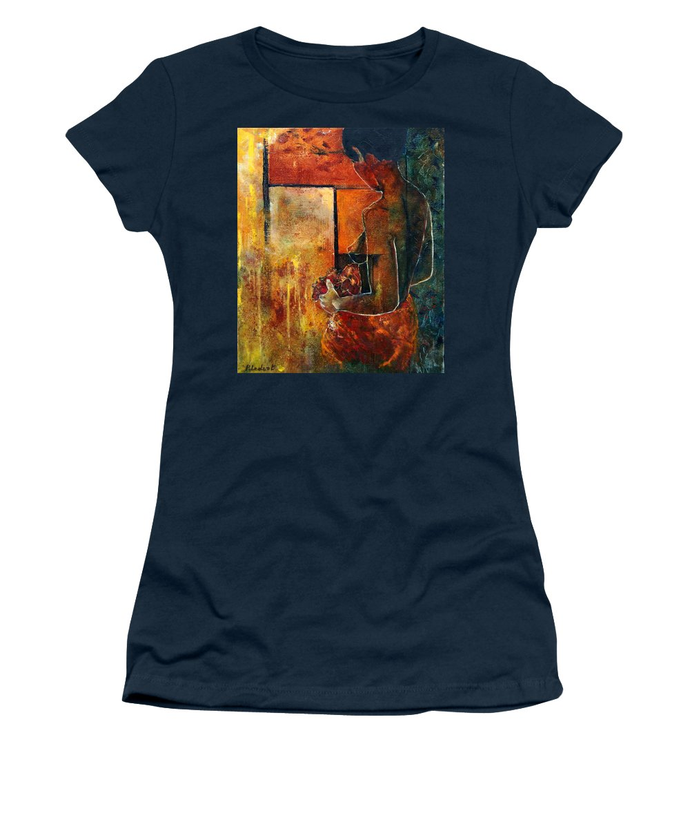 Woman Girl Fashion Nude Women's T-Shirt featuring the painting Nude by Pol Ledent