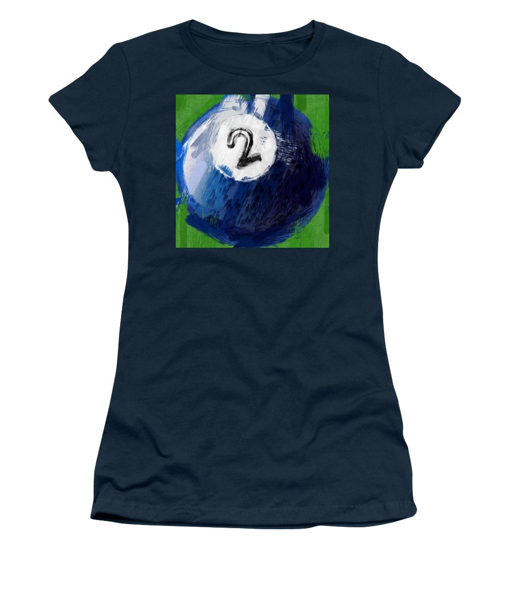 Two Women's T-Shirt featuring the photograph Number Two Billiards Ball Abstract by David G Paul