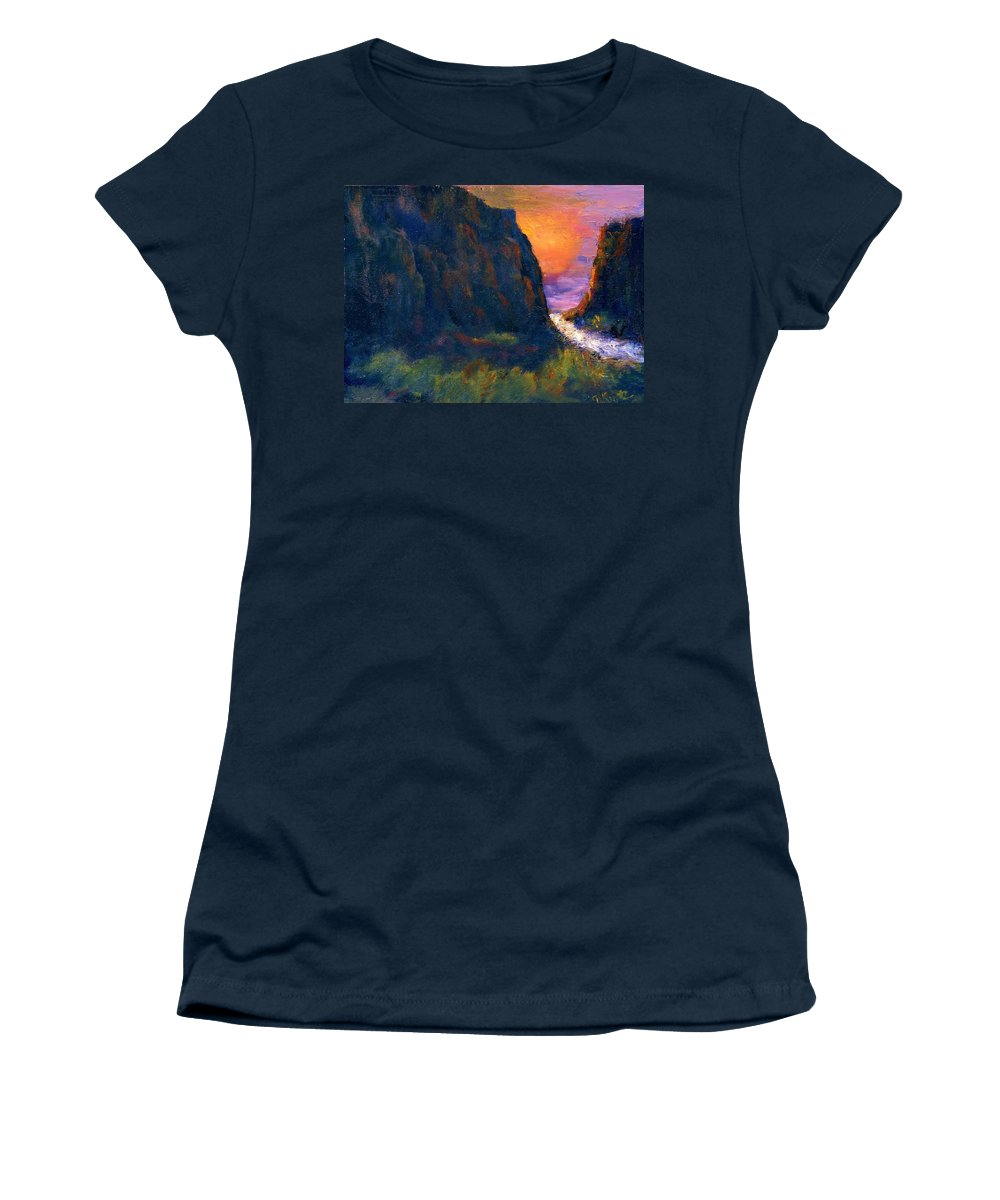Impressionistic Women's T-Shirt (Athletic Fit) featuring the painting Oak Creek Canyon by Gail Kirtz