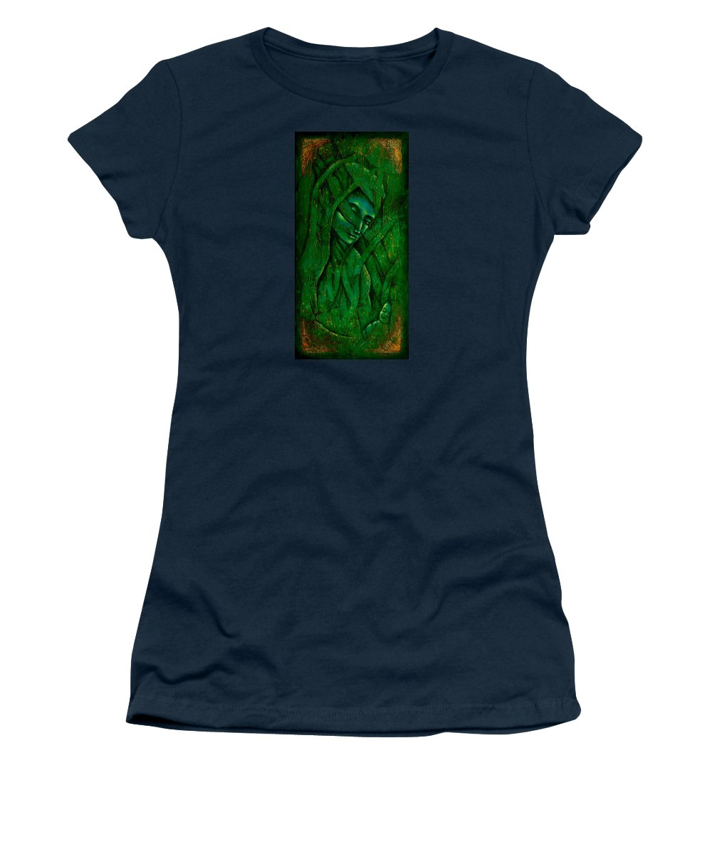 Native American Women's T-Shirt (Athletic Fit) featuring the painting Ocean Birth by Kevin Chasing Wolf Hutchins