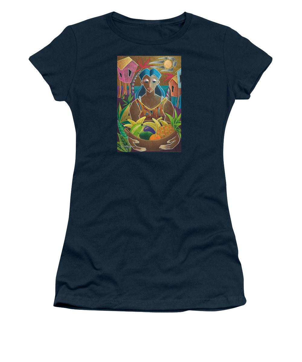Female Women's T-Shirt featuring the painting Ofrendas de mi tierra by Oscar Ortiz