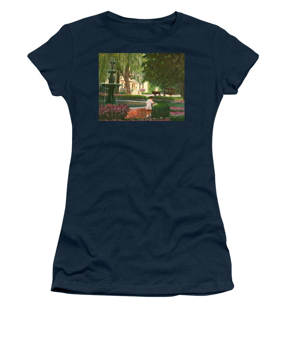 Savannah; Fountain; Child; House Women's T-Shirt featuring the painting Old And Young Of Savannah by Ben Kiger