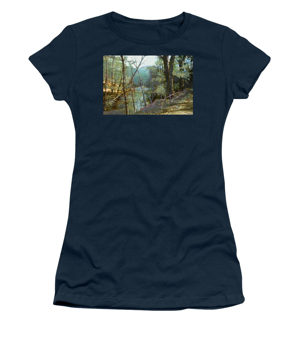 River; Trees; Landscape Women's T-Shirt featuring the painting Old Man River by Ben Kiger