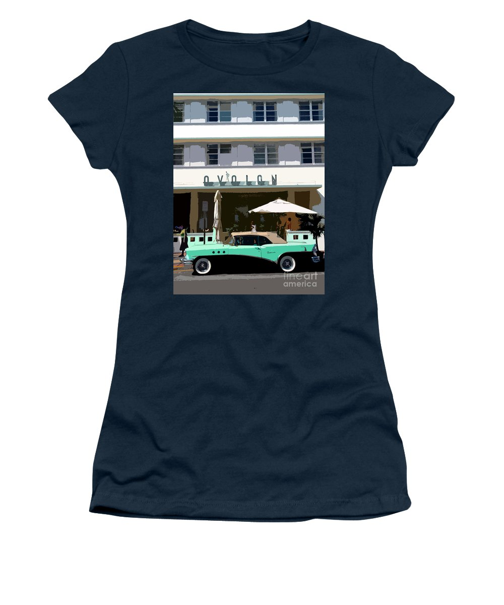 Miami Beach Florida Women's T-Shirt (Athletic Fit) featuring the photograph Old Miami Beach by David Lee Thompson