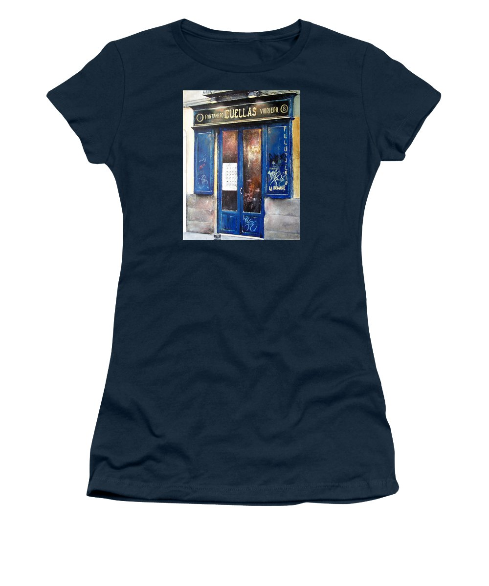Old Women's T-Shirt featuring the painting Old Plumbing-Madrid by Tomas Castano