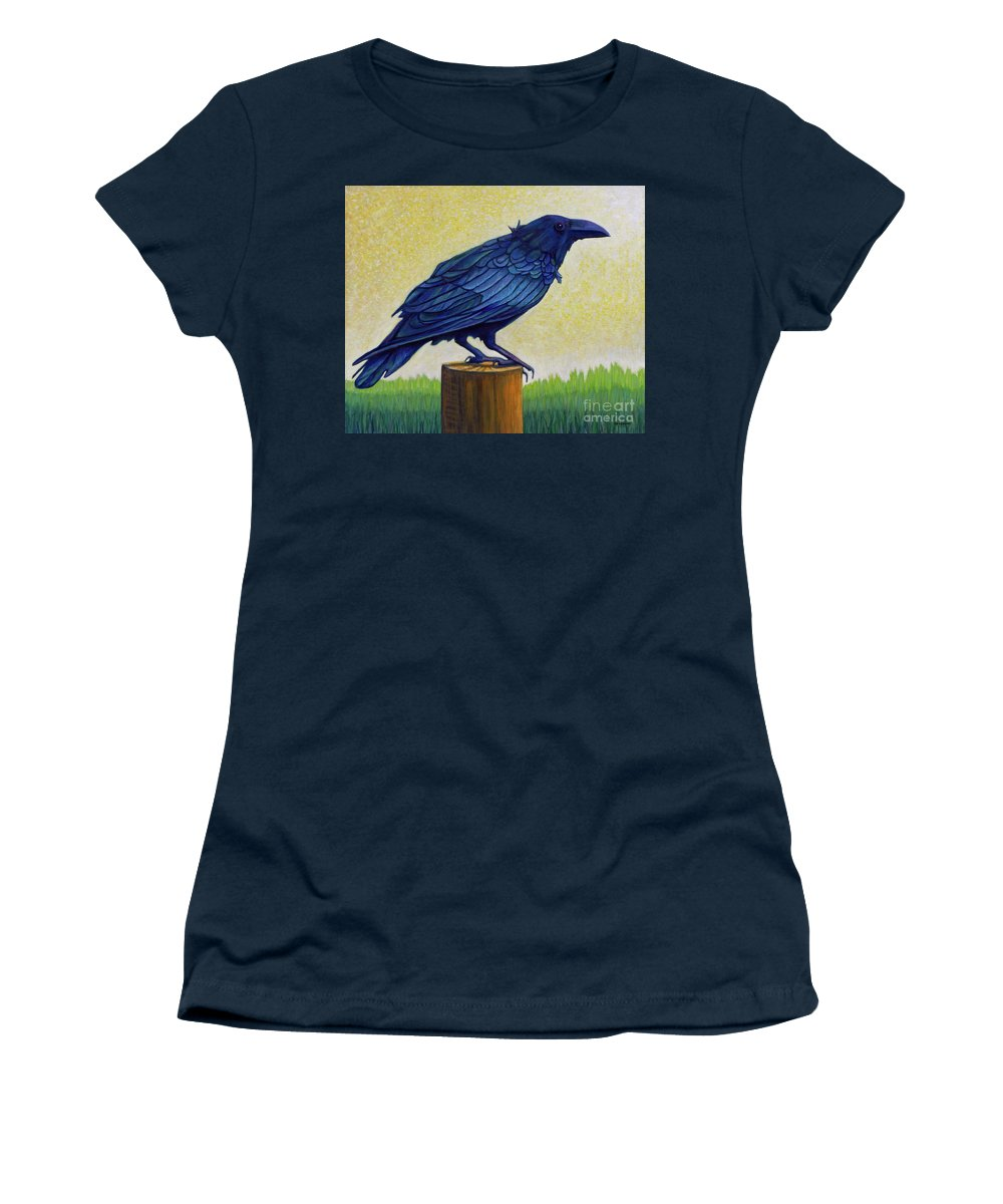 Raven Women's T-Shirt (Athletic Fit) featuring the painting Old Priest In Passion by Brian Commerford