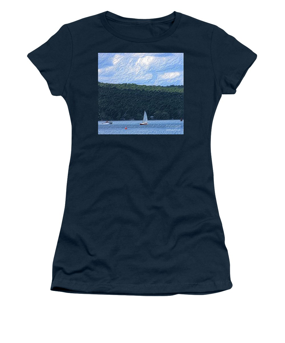 Landscape Women's T-Shirt (Athletic Fit) featuring the photograph On Cayuga Lake by David Lane