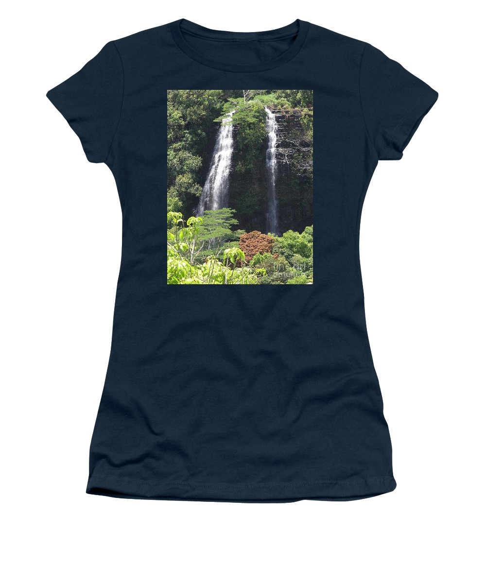 Mary Deal8waterfalls Women's T-Shirt (Athletic Fit) featuring the photograph Opaekaa Falls On Kauai Before A Storm by Mary Deal