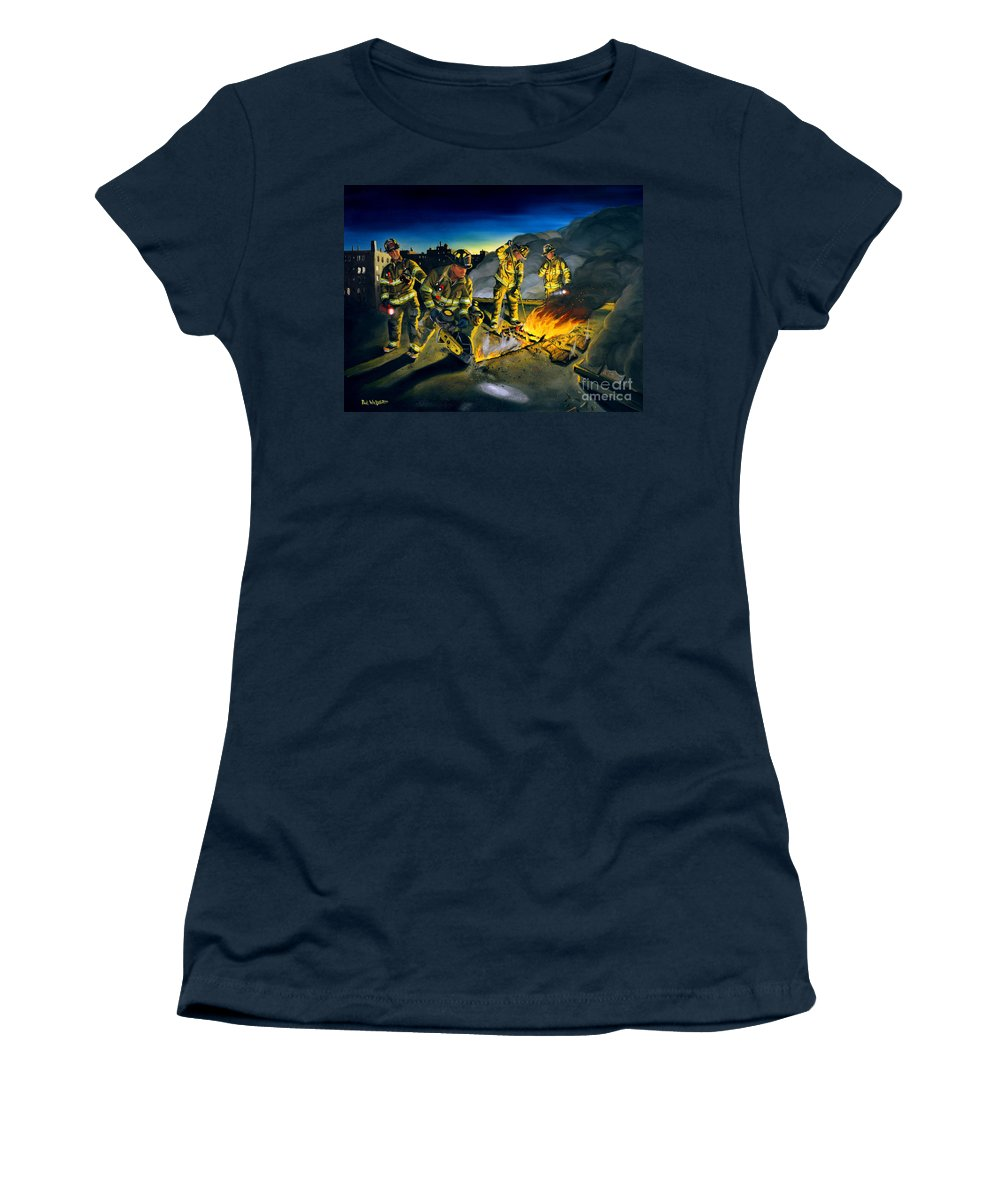 Firefighters In Action Women's T-Shirt featuring the painting Opening Up by Paul Walsh