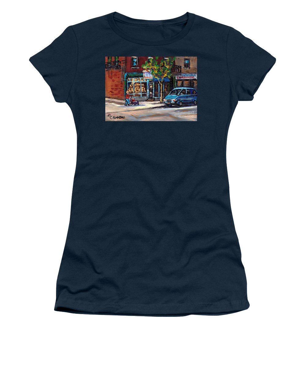 St.viateur Bage Artl Women's T-Shirt featuring the painting Original Art For Sale Montreal Petits Formats A Vendre Boulangerie St.viateur Bagel Paintings by Carole Spandau