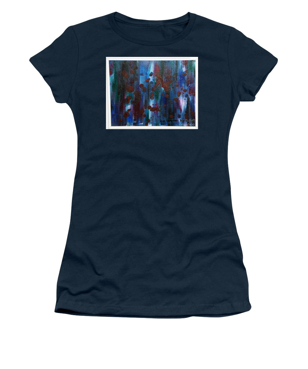 Acrylic Painting Women's T-Shirt featuring the painting Out Of The Blue by Yael VanGruber
