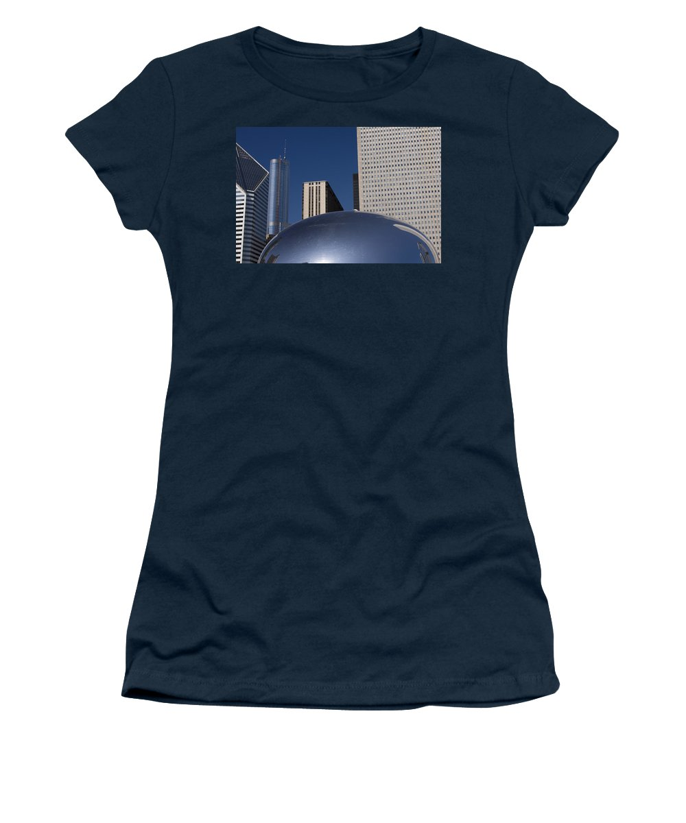 Chicago Windy City Wind Blue Sky Art Bean Building Skyscraper Tall High Big Large Reflection Women's T-Shirt (Athletic Fit) featuring the photograph Over The Bean by Andrei Shliakhau