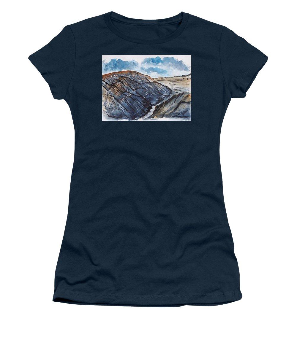 Plein Air Women's T-Shirt featuring the painting Painted Desert landscape mountain desert fine art by Derek Mccrea
