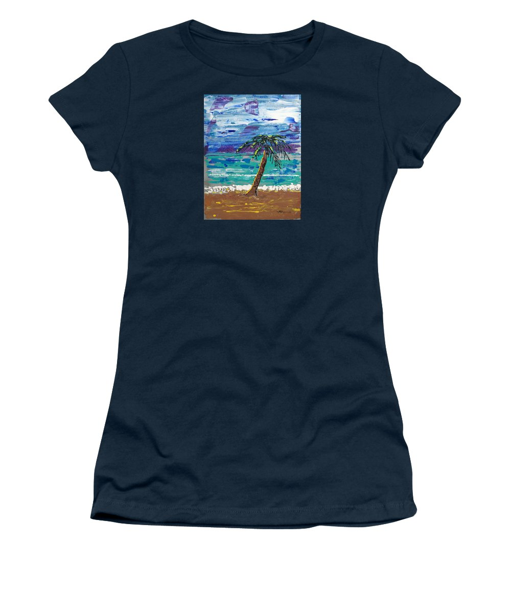 Palm Tree Women's T-Shirt (Athletic Fit) featuring the painting Palm Beach by J R Seymour
